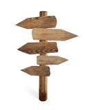 Oude houten geïsoleerde verkeerstekenpijlen Royalty-vrije Stock Foto