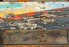 Oude houten geschilderde en scherfverf. Royalty-vrije Stock Foto's
