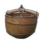 Oude houten goed geïsoleerdeh emmer. Royalty-vrije Stock Foto's