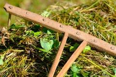 Oude houten hark op hooi stock foto's