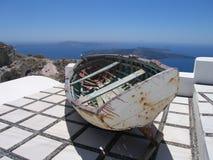 Oude houten het roeien boot Stock Foto