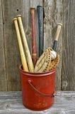 Oude houten honkbalknuppels Stock Foto's