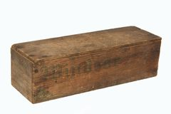 Oude houten kaasdoos. Royalty-vrije Stock Foto's