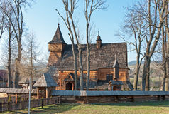 Oude Houten Kerk in Debno, Polen Royalty-vrije Stock Afbeeldingen