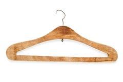 Oude houten kleerhanger op wit Stock Fotografie