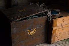 Oude Houten Kratten Stock Foto's