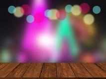 Oude houten lijstbovenkant op kleurrijke vage lichte samenvatting backgroun stock afbeelding