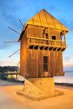 Oude houten molen in nessebar Bulgarije Royalty-vrije Stock Foto's