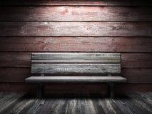 Oude houten muur en bank royalty-vrije stock afbeelding