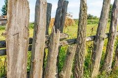Oude houten omheiningsclose-up Stock Foto