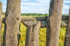 Oude houten omheiningsclose-up Royalty-vrije Stock Afbeelding