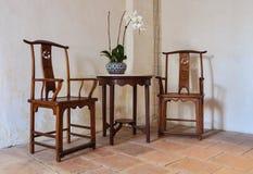 Oude houten paarstoel Stock Afbeelding