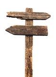 Oude houten pijlenverkeersteken Royalty-vrije Stock Foto's