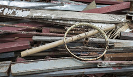 Oude Houten Puinstapel, Kringloophout Stock Foto