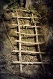 Oude houten stappen dichtbij de grond Stock Foto's