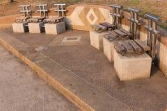 Oude houten stoel in het park. Royalty-vrije Stock Fotografie