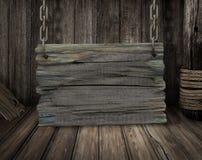 Oude houten tekenraad Royalty-vrije Stock Afbeeldingen