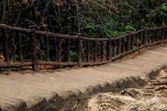 Oude houten treden in wildernis royalty-vrije stock foto