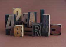 Oude houten typegroep stock afbeelding