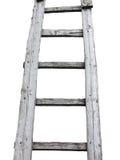 Oude houten uitstekende die cuveladder over wit wordt geïsoleerd Royalty-vrije Stock Foto's
