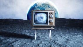 Oude houten uitstekende TV op de maan Aardeachtergrond Ruimteconcept uitzending het 3d teruggeven Stock Foto