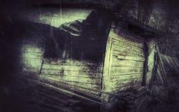 Oude houten verlaten cabine in het hout stock fotografie