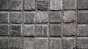 Oude houten vierkante tegelsvloer Stock Fotografie