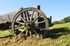 Oude houten wagen wheeel royalty-vrije stock fotografie