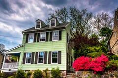 Oude huis en azaleastruiken in Ellicott-Stad, Maryland stock afbeelding