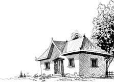 Oude huisschets royalty-vrije illustratie