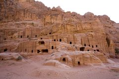 Oude huizen bij Petra Jordanië Royalty-vrije Stock Foto's