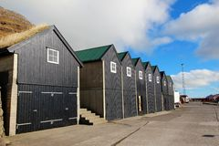 Oude huizen in de Faeröer Stock Foto's