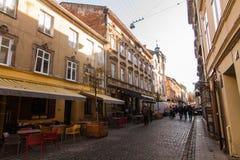 Oude huizen in de Lviv-stad royalty-vrije stock fotografie