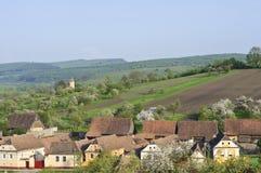 Oude huizen in een dorp in Transsylvanië stock fotografie