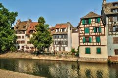 Oude huizen in het district van La Petite France in Straatsburg Royalty-vrije Stock Afbeeldingen