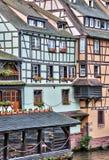 Oude huizen in het district van La Petite France in Straatsburg Royalty-vrije Stock Fotografie