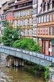 Oude huizen in het district van La Petite France in Straatsburg Stock Afbeeldingen