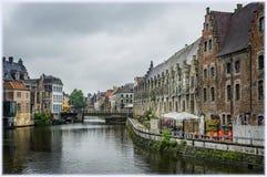 Oude huizen op de Graslei-haven, Gent, België royalty-vrije stock afbeelding