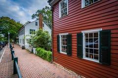 Oude huizen in Oud Salem Historic District, in Winst van de binnenstad Stock Foto