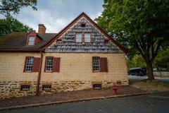 Oude huizen in Oud Salem Historic District, in Winst van de binnenstad Royalty-vrije Stock Foto