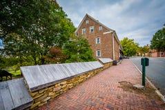 Oude huizen in Oud Salem Historic District, in Winst van de binnenstad Stock Afbeelding