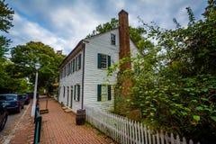 Oude huizen in Oud Salem Historic District, in Winst van de binnenstad Royalty-vrije Stock Afbeeldingen