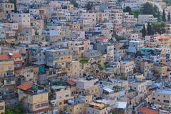 Oude huizen overvol in de stad van Jeruzalem, Israël royalty-vrije stock foto's