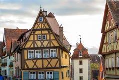 Oude huizen in Rothenburg ob der Tauber, schilderachtige middeleeuwse stad royalty-vrije stock foto's