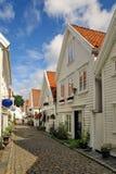 Oude huizen in Stavanger, Noorwegen. Royalty-vrije Stock Afbeelding