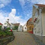 Oude huizen in Stavanger, Noorwegen. Royalty-vrije Stock Fotografie