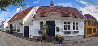 Oude huizen in Stavanger, Noorwegen. Stock Fotografie
