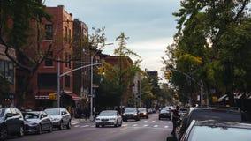Oude huizen van Brooklyn bij schemer royalty-vrije stock foto's