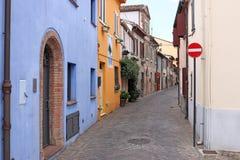 Oude huizenstraat Rimini Italië Stock Fotografie