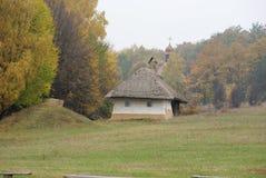 Oude hut met rietdak Stock Fotografie